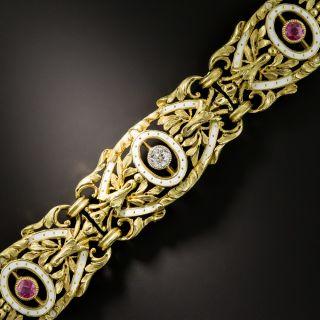 French 2nd Empire Diamond Ruby Enamel Bracelet - 2