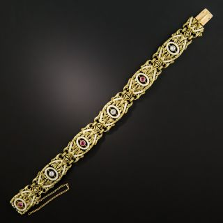 French 2nd Empire Diamond Ruby Enamel Bracelet