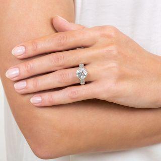 French Mid-Century 3.52 Carat Diamond Engagement Ring - GIA I VS1