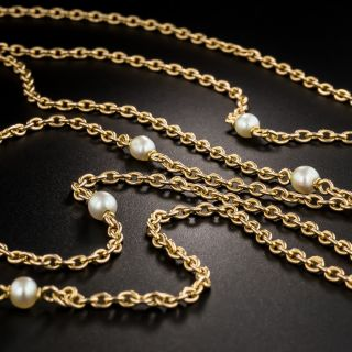 French 68 Inch 18K Rose Gold and Pearl Chain