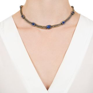 French Antique Diamond and Sapphire Necklace