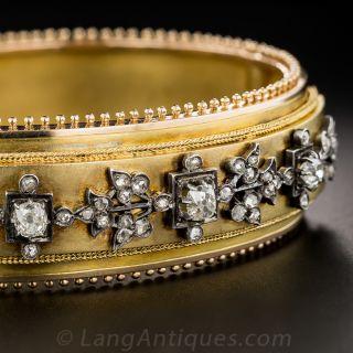 French Antique Diamond Bangle Bracelet