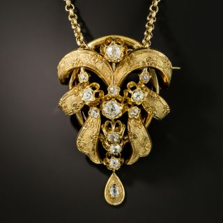 French Antique Diamond Brooch/Necklace - 1