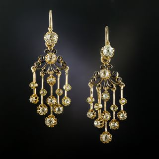 French Antique Diamond Day and Night Chandelier Earrings - 3
