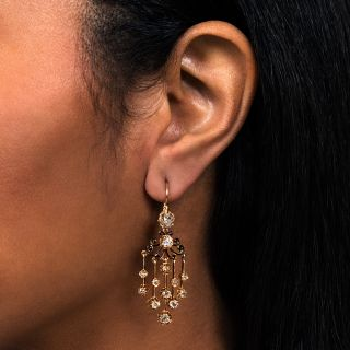 French Antique Diamond Day and Night Chandelier Earrings