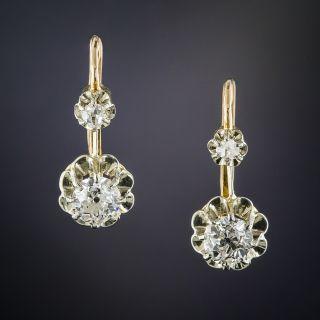 French Antique Diamond Drop Earrings  - 1