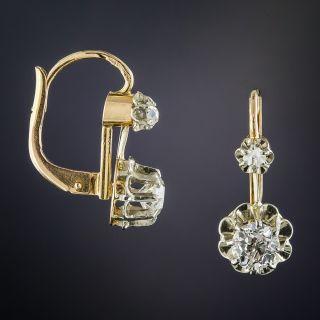 French Antique Diamond Drop Earrings