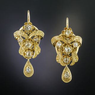 French Antique Diamond Earrings  - 2