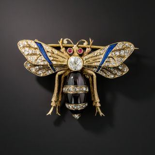 French Antique Diamond Garnet Wasp Brooch - 2