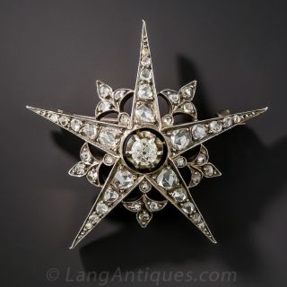 French Antique Diamond Star Brooch