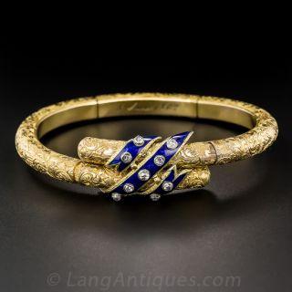French Antique Enamel and Diamond Bracelet