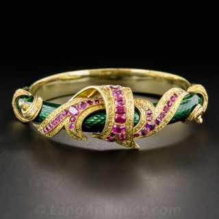 French Antique Enamel and Ruby Bangle