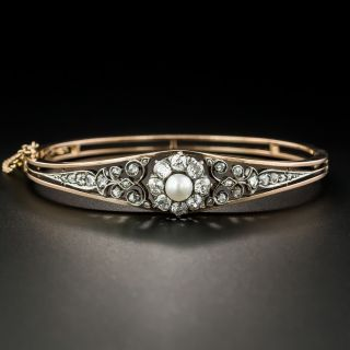 French Antique Natural Pearl and Diamond Bangle Bracelet - 2