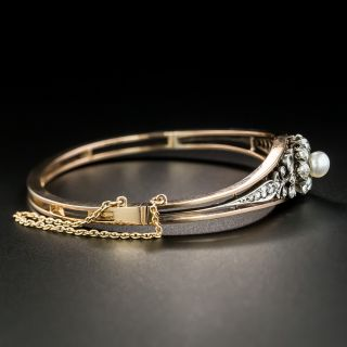 French Antique Natural Pearl and Diamond Bangle Bracelet