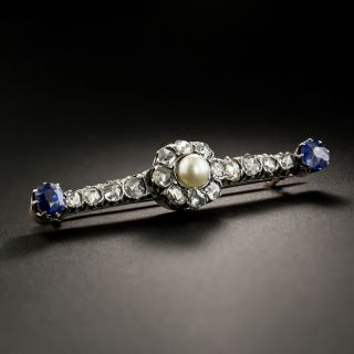 French Antique Natural Pearl, Diamond And Sapphire Bar Pin - 2