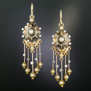 French Antique Pearl Dangle Earrings - 2