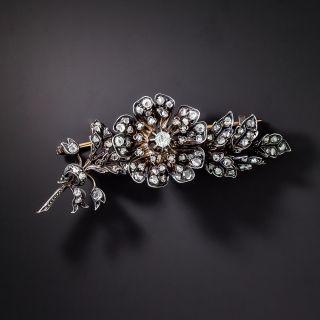 French Antique Rose-Cut Diamond Flower Brooch - 1