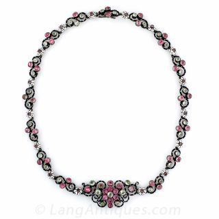 French Antique Silver, Enamel and Paste Necklace