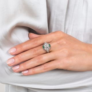 French Art Deco 1.36 Carat Diamond and Calibre Emerald Engagement Ring GIA H-SI 1