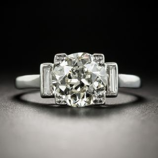 French 1.78 Carat Diamond Platinum Solitaire Engagement Ring - GIA N VS2  - 1