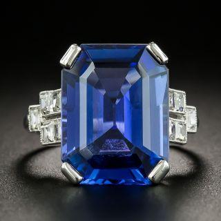 French Art Deco 10.48 No-Heat Ceylon Sapphire and Diamond Ring - 3
