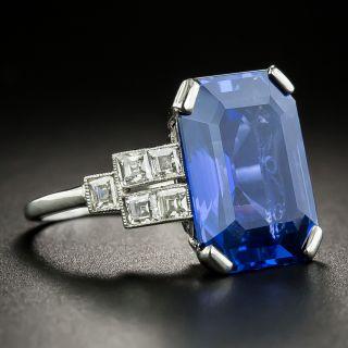 French Art Deco 10.48 No-Heat Ceylon Sapphire Diamond Ring