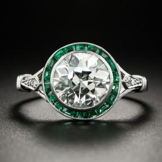 French Art Deco 2.70 Carat Diamond Calibre Emerald Engagement Ring - 1