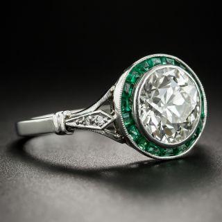 French Art Deco 2.70 Carat Diamond Calibre Emerald Engagement Ring