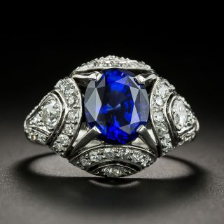 French Art Deco 3.00 Carat Sapphire and Diamond Ring  - 1