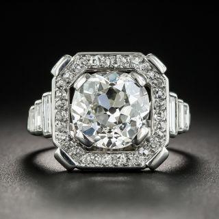 French Art Deco 3.49 Carats Platinum Diamond Ring - GIA J  VS2  - 1