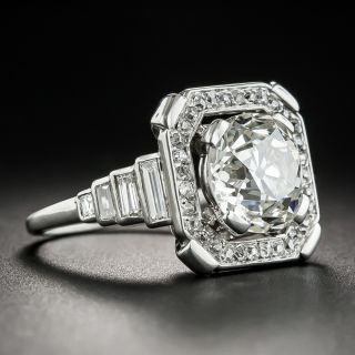 French Art Deco 3.49 Carat Platinum Diamond Ring - GIA J  VS2