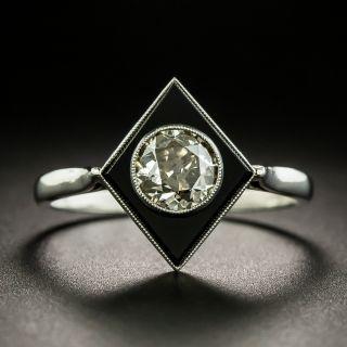 French Art Deco .65 Carat Diamond and Onyx Ring - 2