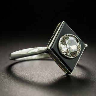 French Art Deco .65 Carat Diamond and Onyx Ring