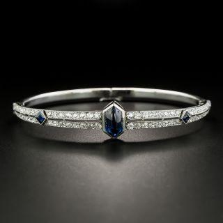 French Art Deco Cabochon Sapphire and Diamond Bangle Bracelet - 2