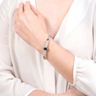 French Art Deco Cabochon Sapphire and Diamond Bangle Bracelet