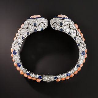 French Art Deco Coral, Diamond and Sapphire Bangle - 6