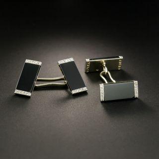 French Art Deco Diamond and Onyx Cufflinks - 3