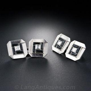 French Art Deco Diamond and Onyx Cufflinks - 1