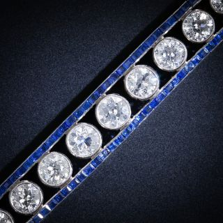French Art Deco Diamond and Sapphire Bracelet