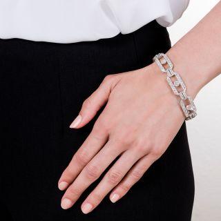 French Art Deco Diamond Link Bracelet