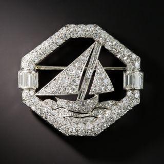 French Art Deco Diamond Sailboat Brooch by Henry Kahn - 1