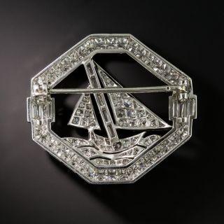 French Art Deco Diamond Sailboat Brooch by Henry Kahn