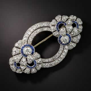 French Art Deco Diamond Sapphire Brooch - 2