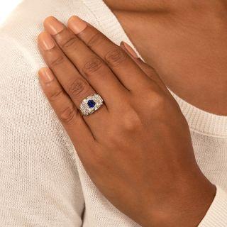 French Art Deco Hexagonal No-Heat Sapphire and Diamond Ring