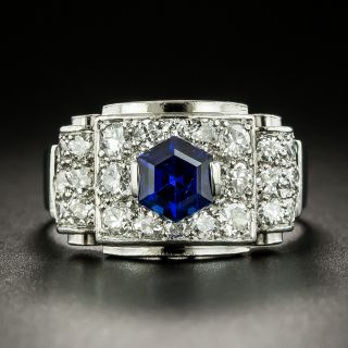 French Art Deco Hexagonal No-Heat Sapphire and Diamond Ring - 2