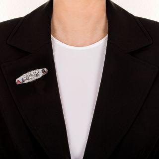 French Art Deco Japonesque Diamond Brooch
