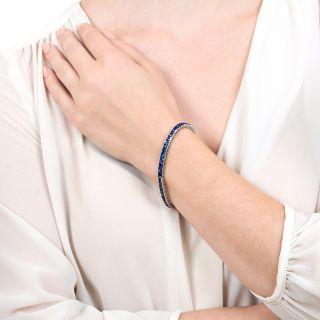 French Art Deco No-Heat Sapphire Platinum Line Bracelet