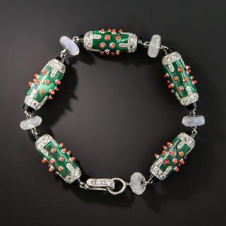 French Art Deco Platinum Coral Malachite Onyx Moonstone and Diamond Bracelet - 3