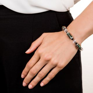 French Art Deco Platinum Coral Malachite Onyx Moonstone and Diamond Bracelet