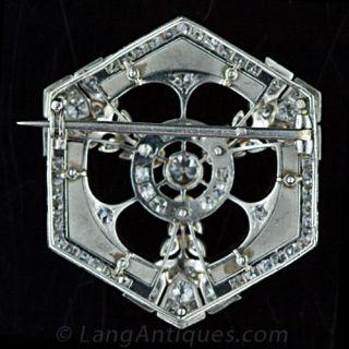 French Art Deco Platinum, Diamond and Enamel Brooch